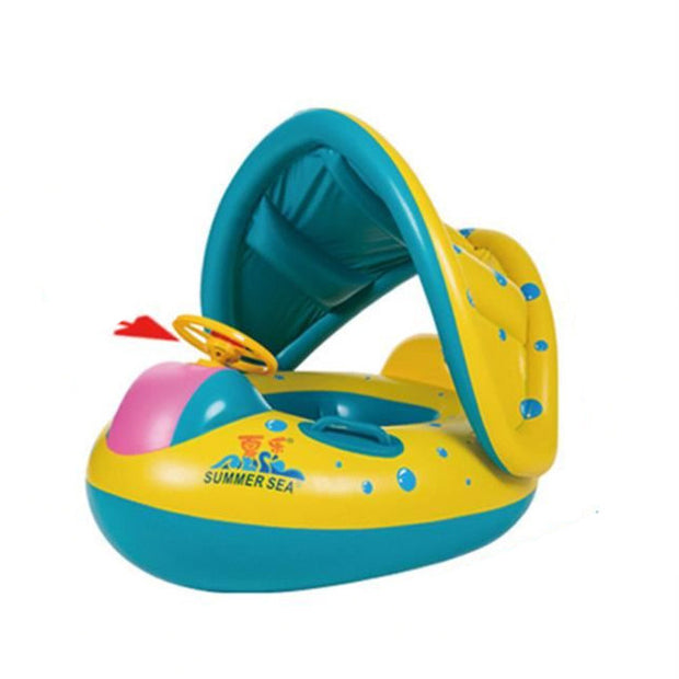 Inflatable Toddler Baby Swim Ring Float Raft Kid Swimming Pool Water Seat with Sunshade Canopy