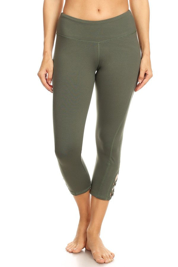 Olive hi-rise legging with a side crisscross strap cutout