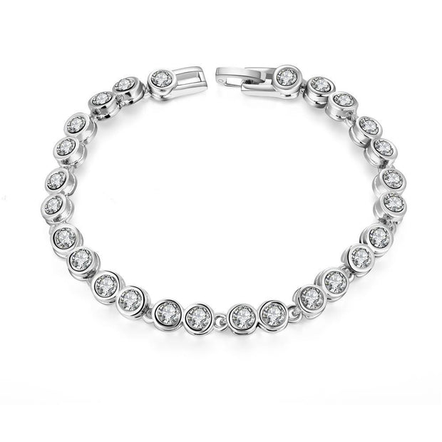 Around the World 18K White Gold Plated Bracelet