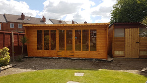 18x8 pent summerhouse with long windows
