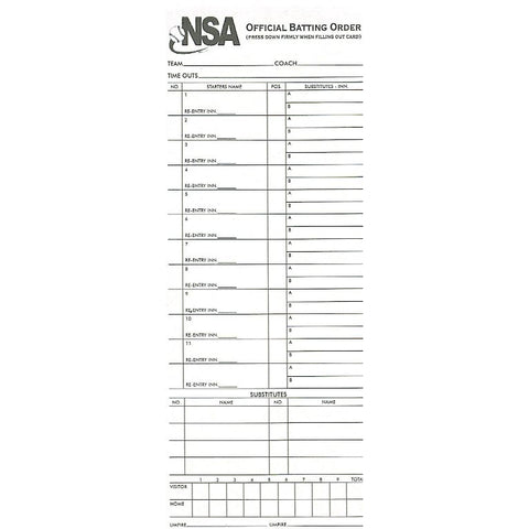 NSA Line Up Card