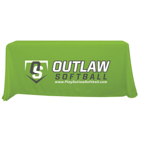 Outlaw Softball 6 ft Lime Green Throw Table Cloth
