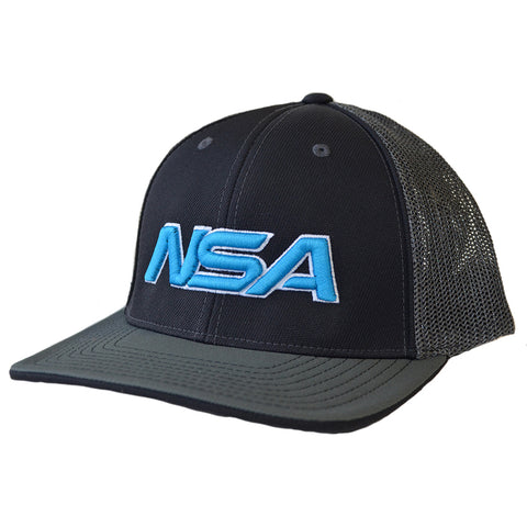 NSA Flex Fit Mesh Hat - 404M Black /  Graphite / Neon Blue