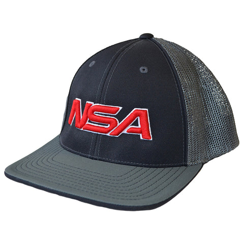 NSA Flex Fit Mesh Hat - 404M Black /  Graphite / Red