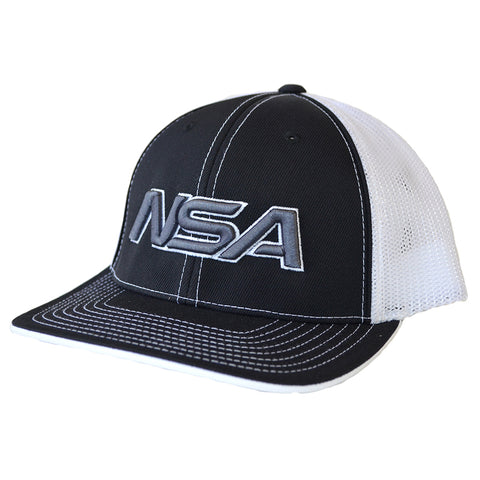 NSA Flex Fit Mesh Hat - 404M Black / White