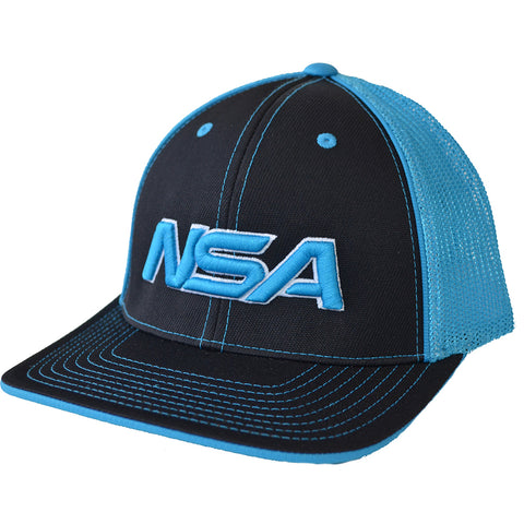 NSA Flex Fit Mesh Hat - 404M Black / Neon Blue