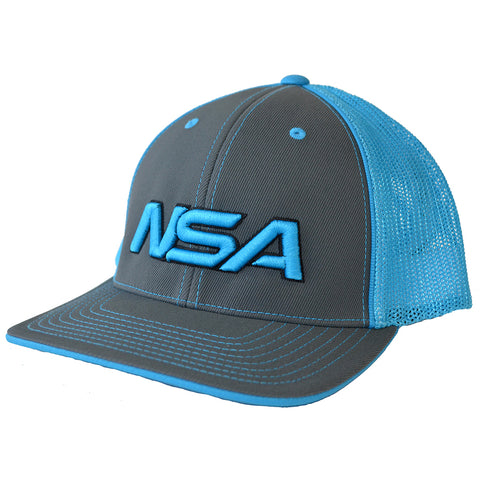 NSA Flex Fit Mesh Hat - 404M Graphite / Neon Blue
