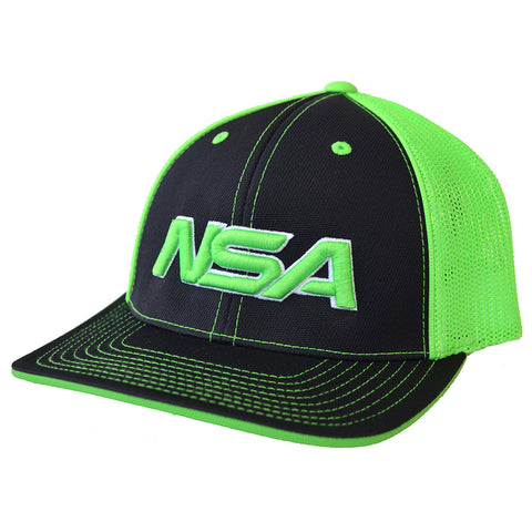 NSA Flex Fit Mesh Hat - 404M Black /  Neon Green