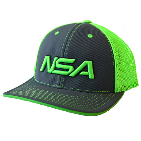 NSA Flex Fit Mesh Hat - 404M Graphite /  Neon Green
