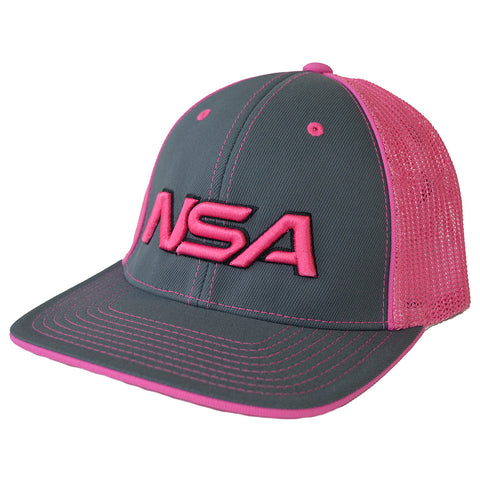 NSA Flex Fit Mesh Hat - 404M Graphite / Neon Pink
