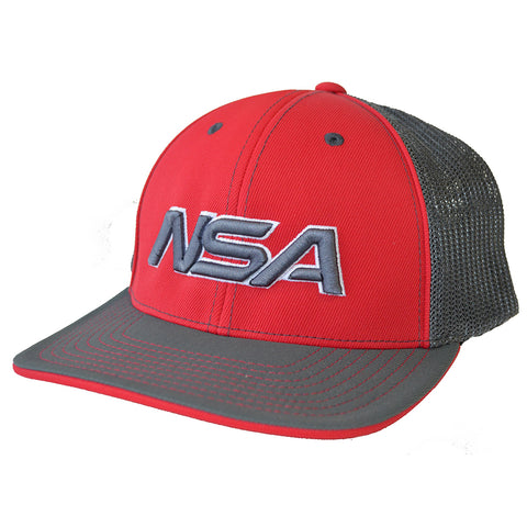 NSA Flex Fit Mesh Hat - 404M Red /  Graphite
