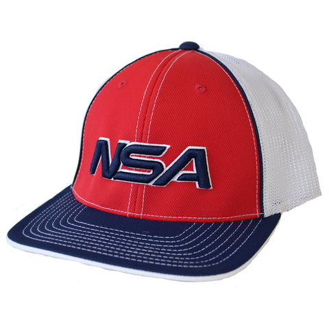 NSA Flex Fit Mesh Hat - 404M Red / Navy