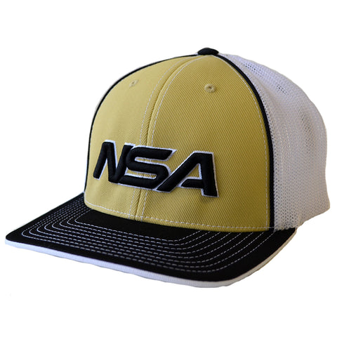 NSA Flex Fit Mesh Hat - 404M Vegas Gold /  Black