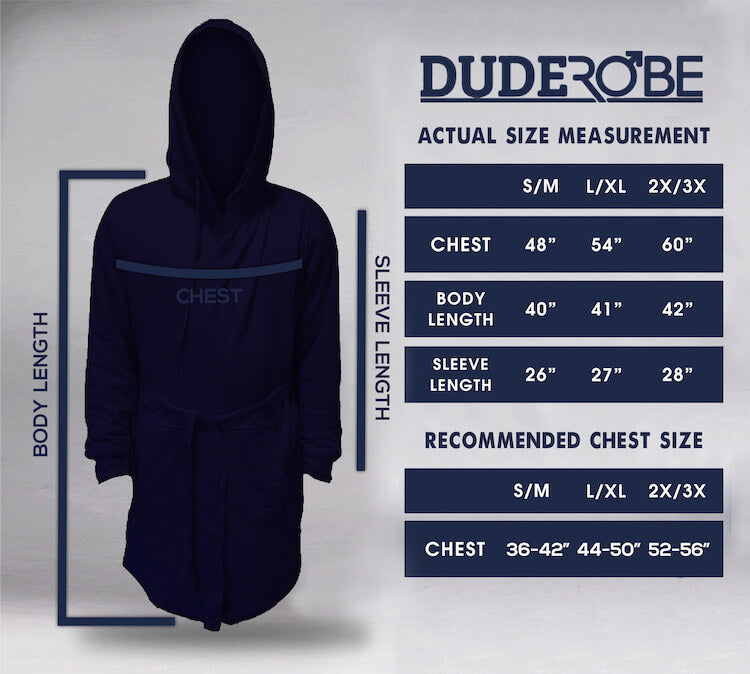 Size Chart DudeRobe Men's Luxury Bathrobe Robe