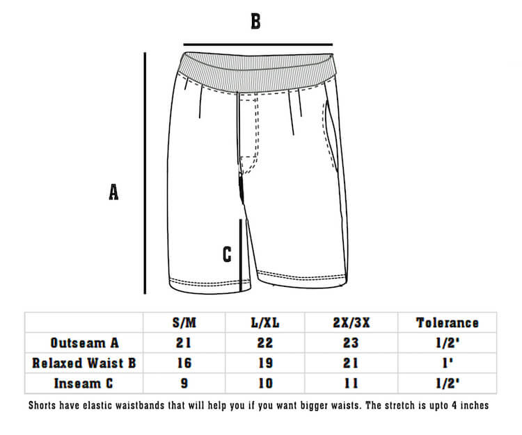 Size Chart DudeRobe Men's Luxury Shorts