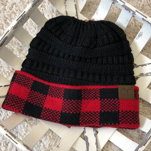 CC Buffalo Plaid Ponytail Beanie (3 colors)