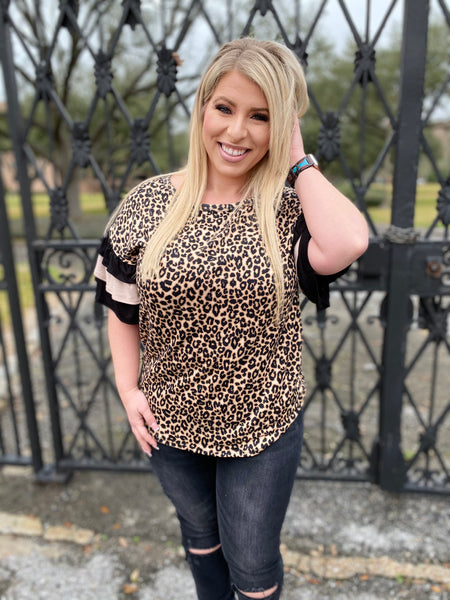 Leopard Print Blouse with Mocha & Black Ruffle Sleeve Detail