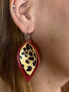 Red & Leopard Layered Earrings