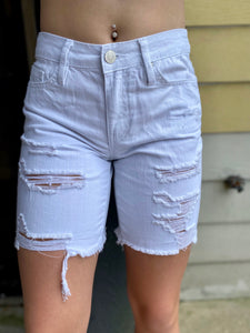 White Distressed Mid Thigh Shorts with Raw Hem