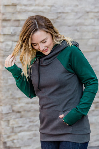 Charcoal and Dark Green Double Hoodie
