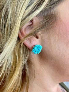 Aqua Beaded Stud Earring