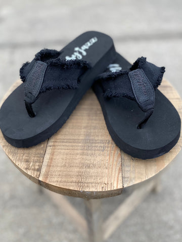 Black Jazz Frayed Flip Flops