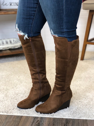 Chestnut Wedge Boots