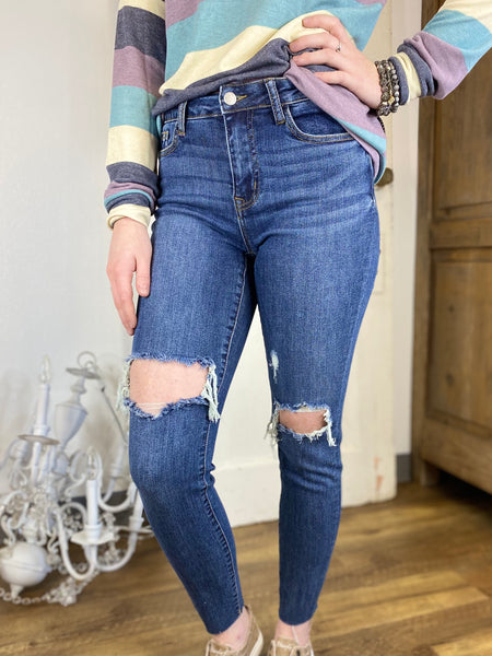 Destroyed Knee High Waist Skinny Jeans- Judy Blue