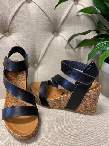 Blowfish Black Dyecut Cork Wedges