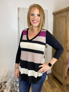 Magenta Striped V Neck Tunic with 3/4 Sleeves