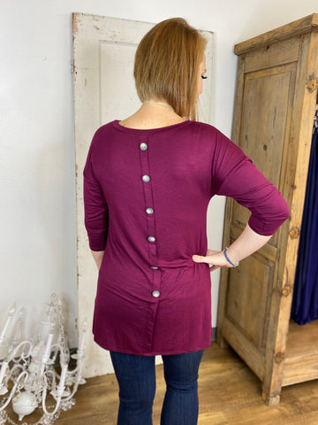 Burgundy Tunic with Back Button Detail