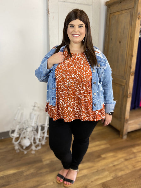Rust Babydoll Animal Print Blouse