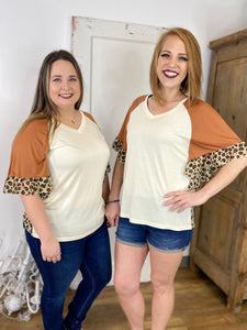 Feline Myself Ruffle Blouse, Tan and Leopard
