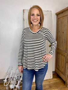 Ivory/ Black Striped V Neck Top