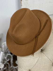 Wool Leather Braided Fedora Hat - Tawny