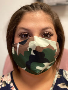 Green/Brown Camo Face Mask with Adjustable Straps