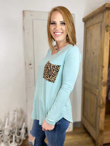 Aqua Long Sleeve Leopard Pocket V Neck