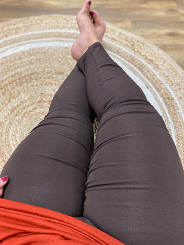 Brown Skinny Leg Teacher Pants (Sizes 4P-24W)