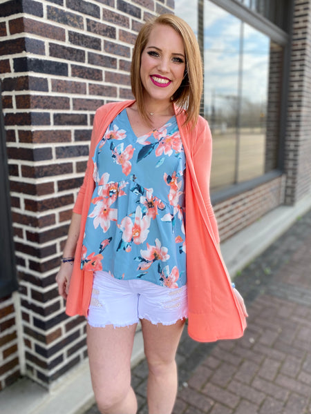 Mint & Coral Blouse with Ruffle Sleeves