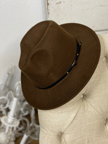 Brown Wool Buckle Trim Fedora Hat