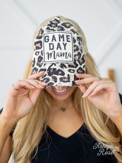 Game Day Mama Patch on Leopard Hat with Beige Mesh and Criss-Cross Back