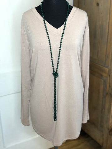 Ash Mocha Basic V Neck Top with Long Sleeves (Plus)