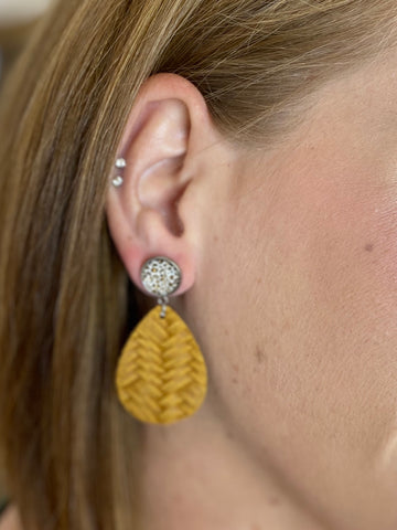 Leopard with Mustard Braided Earrings