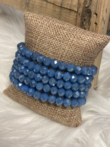 1 Strand Beaded Bracelet, Denim blue