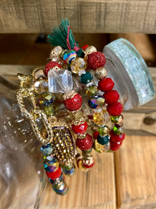 Yours Truly Bracelet Set, Red, Green and Gold