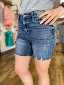 Medium Wash Mid Thigh Shorts with Raw Hem - Judy Blue