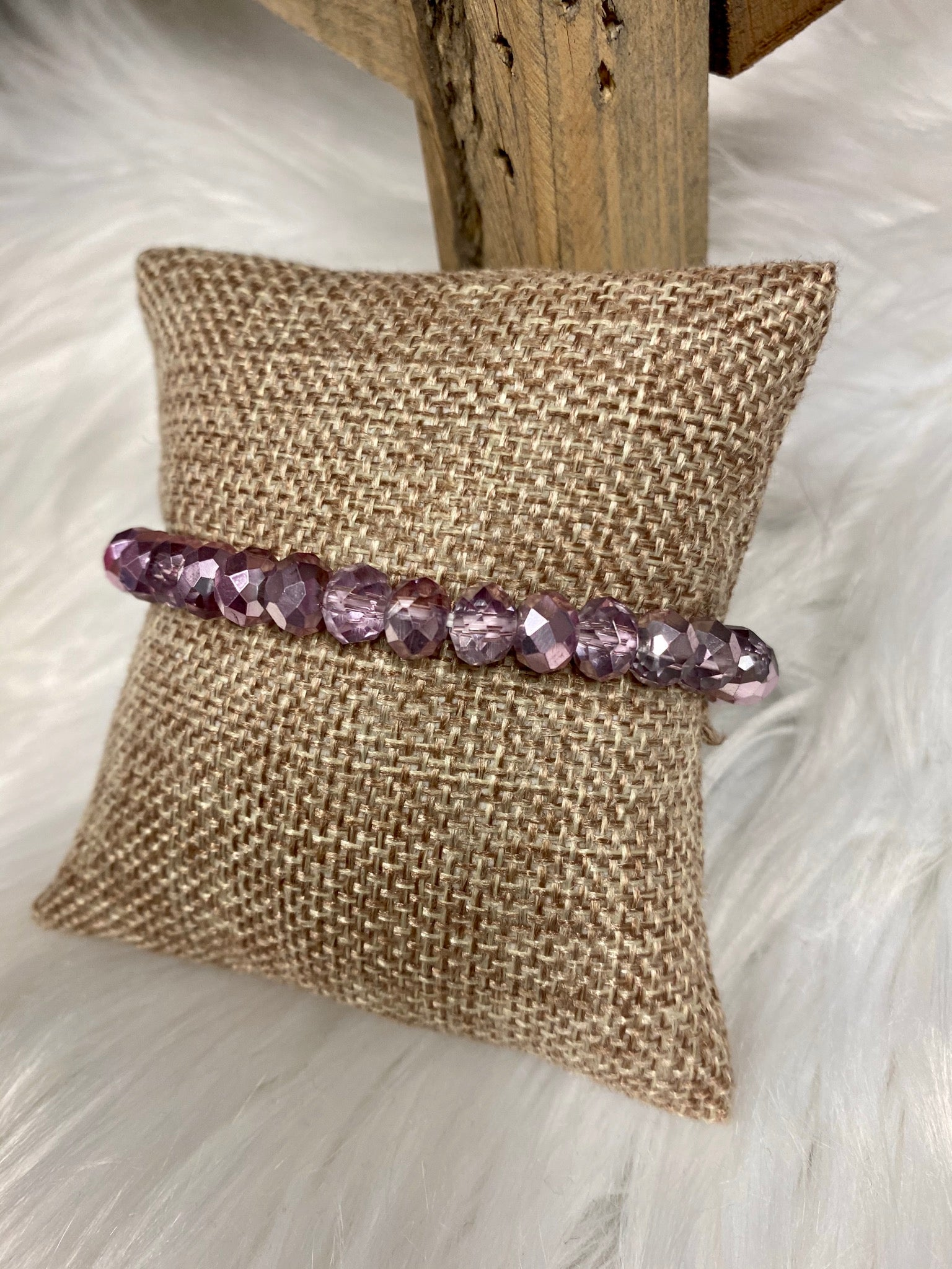 1 Strand Beaded Bracelet, Shimmery Purple