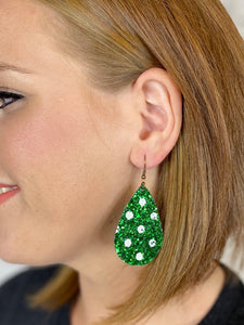 Green Spotted Glitter Earring