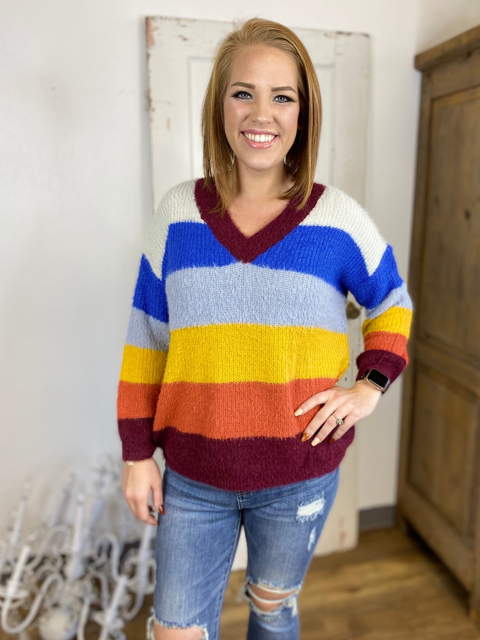 Rollin' Retro V-Neck Mohair Sweater