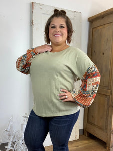 Up in the Air Waffle Knit Top, Sage & Paisley